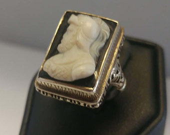 Sterling Art Deco Cameo Ring