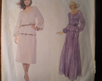 Vintage Vogue Paris Original Christian Dior 1836 1970s 70s Blouse and Skirt Pattern