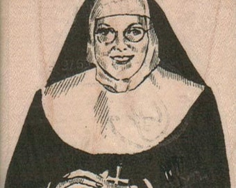 Rubber stamp Sister Stern nun Catholic   wood Mounted  scrapbooking supplies  7118