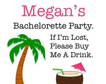 15 Tropical Bachelorette Tattoos - Bachelorette Party Temporary Tattoos - If I'm Lost Tattoos - Palm Tree and Coconut Umbrella Drink