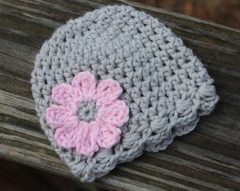 Crochet baby hat, Newborn crochet hats, baby girl hat, twin girls hat, Easter gift, crochet photo prop hat, preemie girl hat, gray baby hat