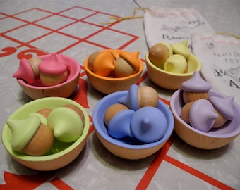 Back to School Set/ 18 Rainbow Sorting Pastel Acorns, 8 Pastel Rainbow Bowls & Tong, Educational Toy / Waldorf Wooden Toy / Montessori Toy