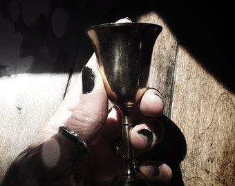 Mini Altar Cup Vintage Brass ~ Witchcraft, Wiccan, Spell, Craft, altar tools - vintage silver