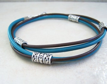 Turquoise and Brown, Leather Ankle Bracelet, Beach Anklet, Sizes 6-12 inchs