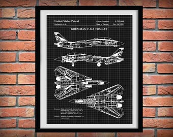 1999 F-14A Tomcat Bomber Plane Patent Northrop Grumman Art Print - Wall Art - Poster - Aviation Decor - Supersonic Military Fighter Plane