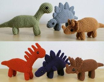 PDF Dinosaurs Sets 1 & 1X - six amigurumi CROCHET PATTERNS