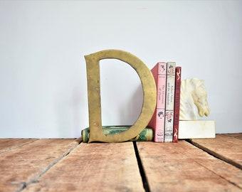 """Vintage Brass Letter """"D"""", Large Brass Sign Letter, Salvage Letter D, Brass Initial, Solid Brass Letter, 10"""" x 8"""" Letter, Vintage Sign Letter"""