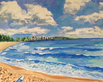 """Original Framed Painting - Manly Beacy, Sydney - Acrylic on Canvas - 20x16""""  - by Tom Donaldson"""