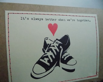 Funny Love Card Converse Shoes valentine for him anniversary card Funny valentine shoe lover card trendy love card