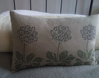 hand printed  muted blue  auricular flower cushion cover