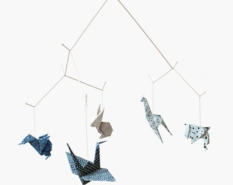 Baby mobile / ZOO ORIGAMI MOBILE: Chiyogami collection - Nursery Decoration - Baby Crib Mobile - Blue v.2