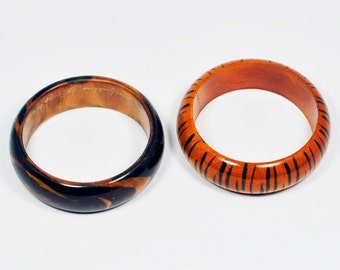 Two Vintage Chunky Wood Bangle Bracelets - One is Signed - Manufactured for Horsefeathers by Huppke L