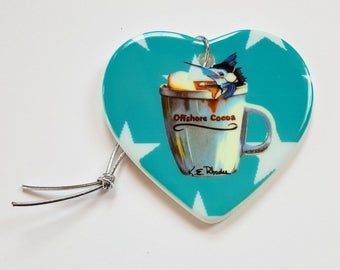 Offshore Cocoa Holiday Christmas ornament heart shaped porcelain ready to hang