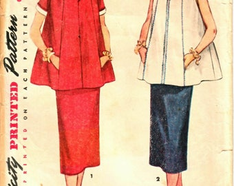 Simplicity 4560 Woman's Maternity Short Sleeve A-Line Top and Straight Skirt Sewing Pattern Size 12 Vintage 1950's