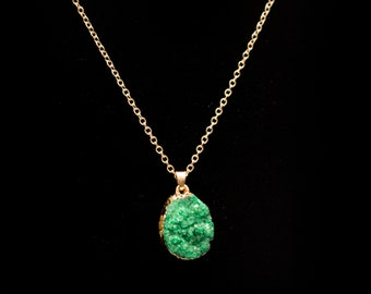 Emerald Green, faux druzy, gold dipped pendant