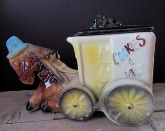 Donkey and Cart Cookie Jar, Vintage Cookie Jar with Donkey Pulling Cart, Cookies and Milk Cookie Jar, Vintage American Bisque Cookie Jar