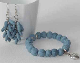 Set: Bracelet and earrings, polymer clay
