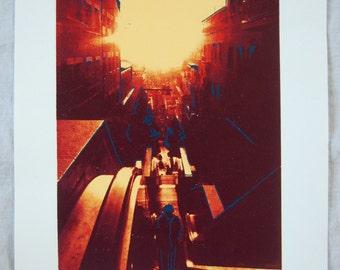 Handmade Screenprint - Sunshine on a Barcelona Escalator