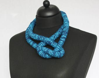 Special necklace, crochet from silk, wool and cotton in blue and dark blue (C-040)