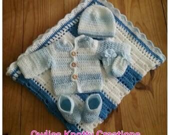 Hand Crocheted Newborn Baby Set