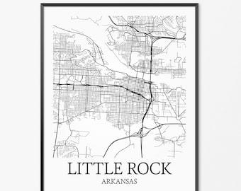 LITTLE ROCK Arkansas CANVAS Map Little Rock Arkansas City Map