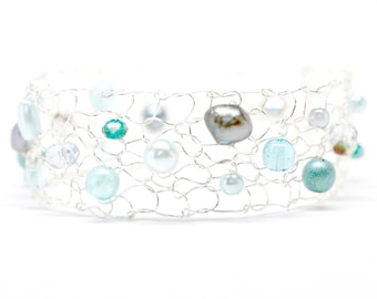 skinny cuff bracelet arm cuff beaded bracelets pearl cuff bracelet mint bracelet gray bracelet dainty bracelet unique jewely gift for her