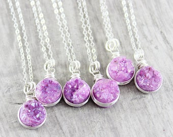 Pink Druzy Necklace, Bridesmaid Jewelry, Fuchsia Pendant, Drusy Geode, Sterling Silver, Wire Wrapped, Dainty, Stone, Chain, Gift for Her