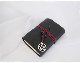 Pentacle Leather Journal, Pocket Leather Notebook, Pentagram Journal, Black Leather Sketchbook, Hand-Bound Journal, Gothic Leather Journal