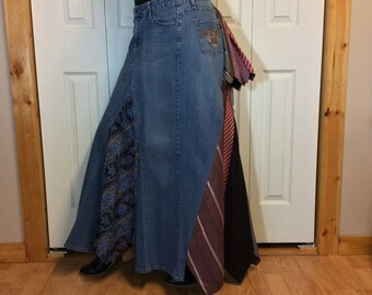 Recycled Denim & Upcycled Neckties Skirt, Plus Size Skirt, Long Jean Skirt/Bustle Maxi Skirt, Repurposed Clothes, Womens Size L-XL-1X