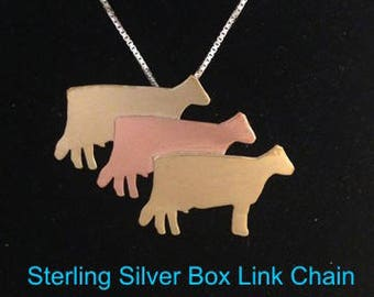 Cow Herd in Brass Copper Brass Necklace Pendant on 18 Inch Chain 4H FFA Cattle Show Livestock Farm Animals Jewelry