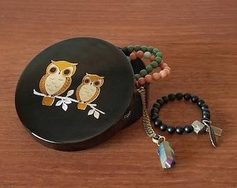 Owl trinket box | Gold and Black | Jewelry box | Vintage box | Boho | Mid century | Hollywood regency | Glam | Lacquer | Acrylic | Eighties