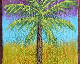 Palm tree original Encaustic painting Caribbean inspired 9x9