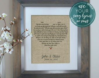 Wedding Gift Song Lyrics, Unique Wedding Gift for Couple, Wedding Song Lyric Art, Song Lyrics, Personalized Engagement Gift For Couple