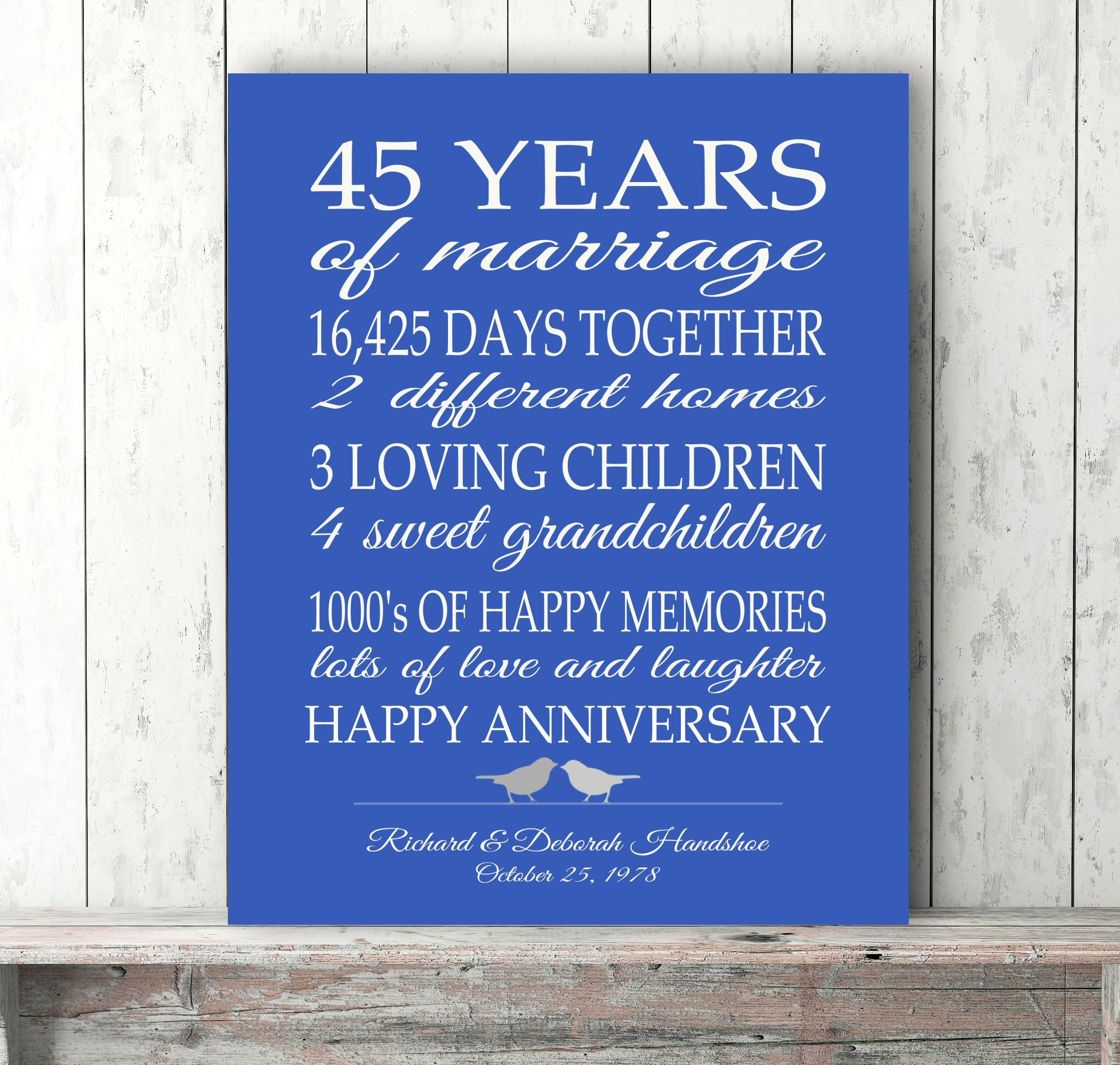 45 Wedding Anniversary Gift For Parents: 45th Anniversary Gift Parents Sapphire Blue Personalized Love