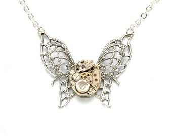 BUTTERFLY Steampunk Necklace, Butterfly Necklace Steampunk Watch Necklace Silver Steampunk Wedding Steampunk Jewelry Victorian Curiosities
