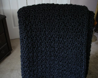 Black Afghan, Throw Blanket, Sofa Throw, Crocheted Blanket, Crocheted Afghan, Housewarming Gift, Hostess Gift