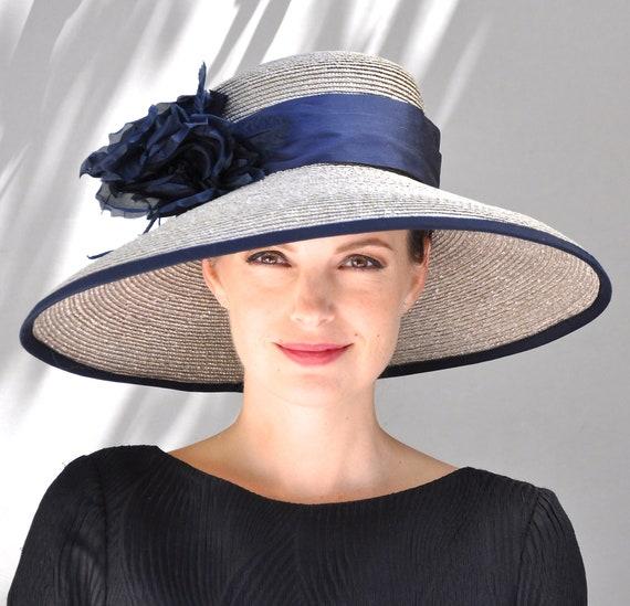 Kentucky Derby Hat, Derby Hat, Wedding Hat, Navy Wide Brim Hat, Ascot Hat