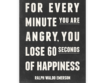 Happiness quote, Subway style art, Quote print, Ralph waldo emerson, Motivational quote, Happiness print, Inspirational quote, Quote art