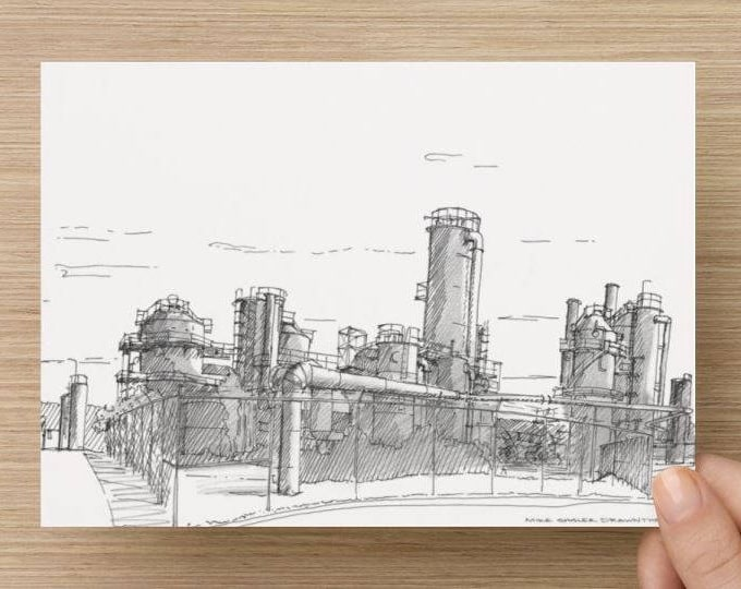 Ink Sketch of Gas Works Park in Seattle, Washington - Drawing, Art, Architecture, Abandoned, Factory, Pen and Ink, 5x7, 8x10, Print