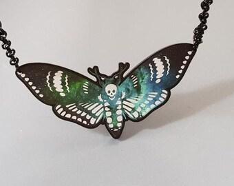 Galaxy Print Moth Necklace