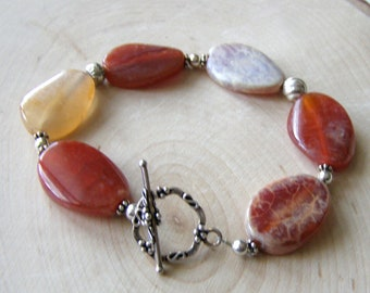 Agate Gemstone Bracelet, Bright Oval Stones, Sterling Silver Toggle Clasp, Autumn Color Beads, Unique Bracelet Gift for Her, Summer Jewelry
