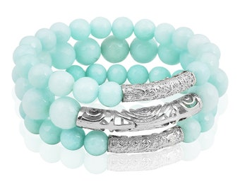 "Natural stones bracelets set ""True mint"" (3 sophisticated bracelets, made of natural mint colour agate, precious rhodium plating)"