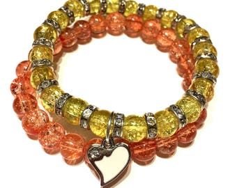 Orange and Yellow Glass Beaded Bracelet
