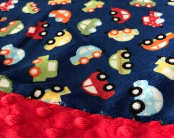 Travel Pillowcase - Cars Print Minky with Red Dot Minky Border - great for a Toddler or Travel Pillow