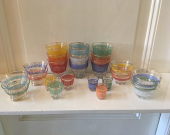 25 glasses * tumblers * bowls * France * 1940 * 1950 * Gold