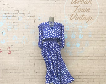 Vintage Blue Fiesta Dress (Size Medium/Large)