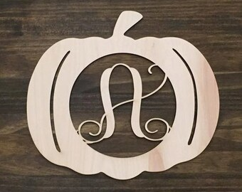 "18"" Wood Pumpkin Monogram Laser Cutout Shape Halloween Fall Unfinished"