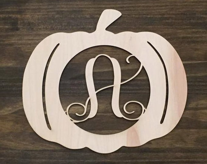 "18"" Wood Pumpkin Monogram Laser Cutout Shape Halloween Fall Unfinished"