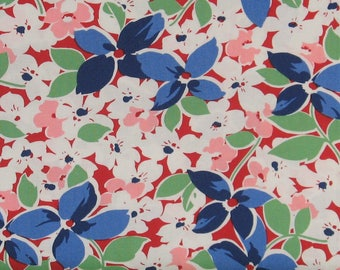 White, Blue, Pink & Green Floral on Red 100% Cotton Quilt Fabric, Hi-De-Ho!, a Kim's Cause Collection by Maywood Studios, MAS9135-R