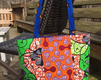 Multicolored Patched pattern Ankara shopping tote bag